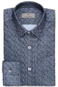 引用: http://www.canali.com/en_gb/clothing/blue-flocked-cotton-shirt-with-chevron-motif-lx23gl00709304.html