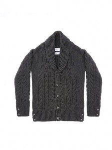 (引用: https://www.thombrowne.com/BABY-CABLE-KNIT-SHAWL-COLLAR-CARDIGAN-IN-DARK-GREY-CASHMERE-298.html)