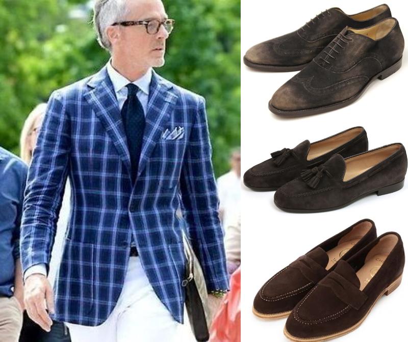 ブラウンスウェード靴